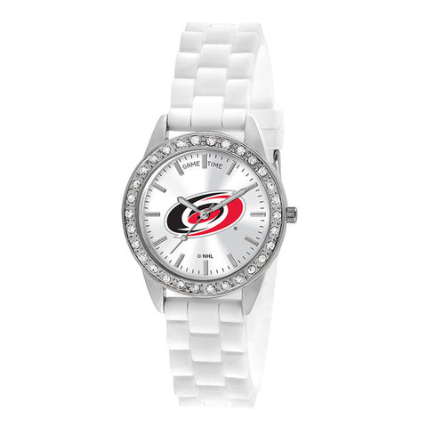 "CAROLINA HURRICANES LADIES QUARTZ ANALOG, SILVER ROUND CASE, WHITE STRAP, 38MM ""FROST"""