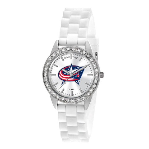 "COLUMBUS BLUE JACKETS LADIES QUARTZ ANALOG, SILVER ROUND CASE, WHITE STRAP, 38MM ""FROST"""