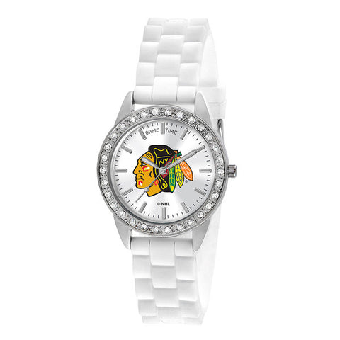 "CHICAGO BLACKHAWKS LADIES QUARTZ ANALOG, SILVER ROUND CASE, WHITE STRAP, 38MM ""FROST"""