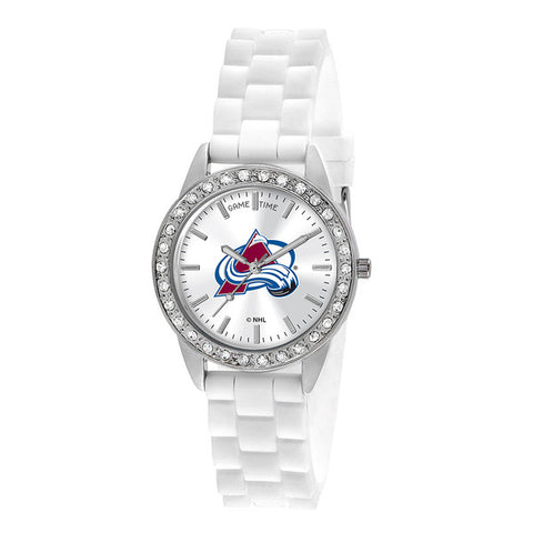 "COLORADO AVALANCHE LADIES QUARTZ ANALOG, SILVER ROUND CASE, WHITE STRAP, 38MM ""FROST"""