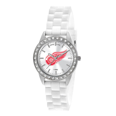"DETROIT RED WINGS LADIES QUARTZ ANALOG, SILVER ROUND CASE, WHITE STRAP, 38MM ""FROST"""
