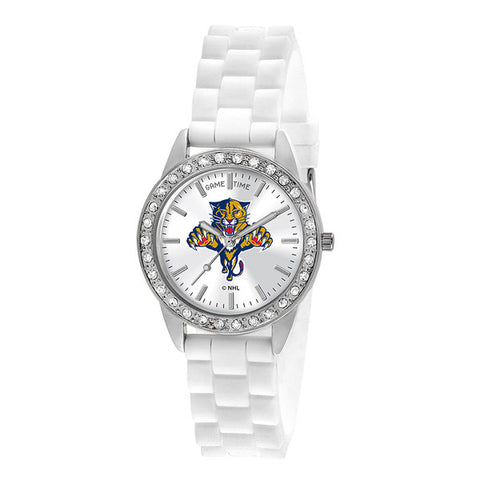 "FLORIDA PANTHERS LADIES QUARTZ ANALOG, SILVER ROUND CASE, WHITE STRAP, 38MM ""FROST"""
