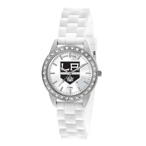 "LOS ANGELES KINGS LADIES QUARTZ ANALOG, SILVER ROUND CASE, WHITE STRAP, 38MM ""FROST"""