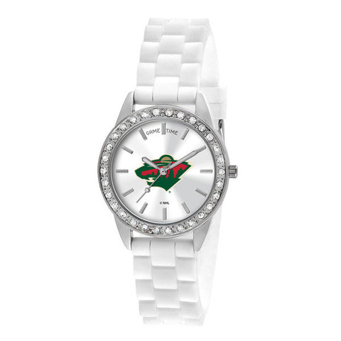 "MINNESOTA WILD LADIES QUARTZ ANALOG, SILVER ROUND CASE, WHITE STRAP, 38MM ""FROST"""