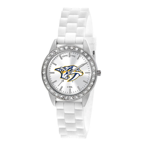 "NASHVILLE PREDATORS LADIES QUARTZ ANALOG, SILVER ROUND CASE, WHITE STRAP, 38MM ""FROST"""