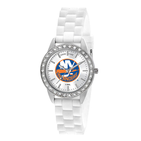 "NEW YORK ISLANDERS LADIES QUARTZ ANALOG, SILVER ROUND CASE, WHITE STRAP, 38MM ""FROST"""