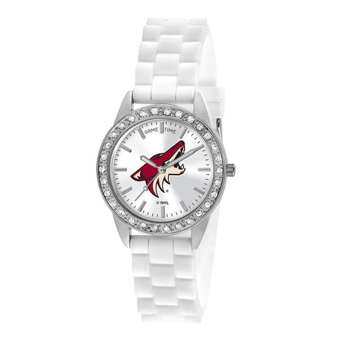 "ARIZONA COYOTES LADIES QUARTZ ANALOG, SILVER ROUND CASE, WHITE STRAP, 38MM ""FROST"""