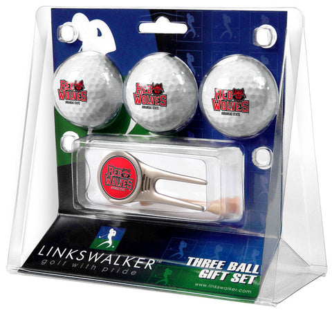 Arkansas State Red Wolves-Cap Tool 3 Ball Gift Pack