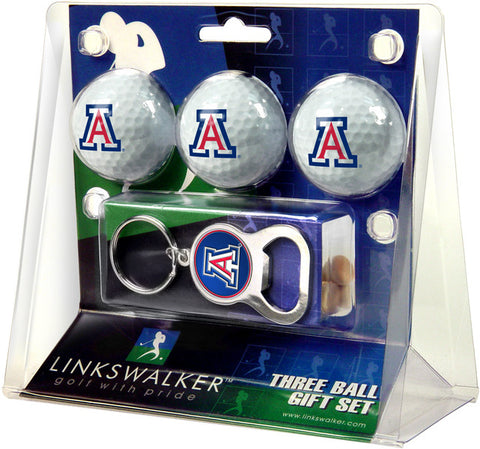 Arizona Wildcats-3 Ball Gift Pack with Key Chain Bottle Opener