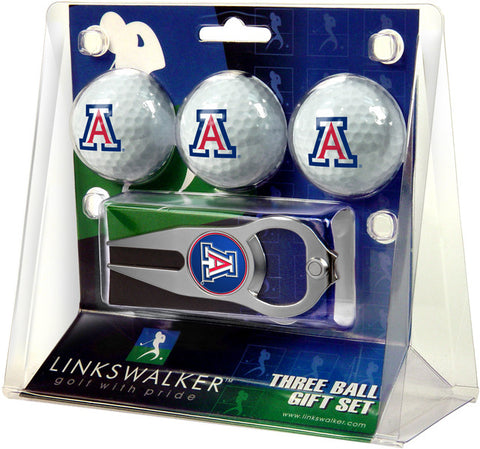 Arizona Wildcats-3 Ball Gift Pack with Hat Trick Divot Tool
