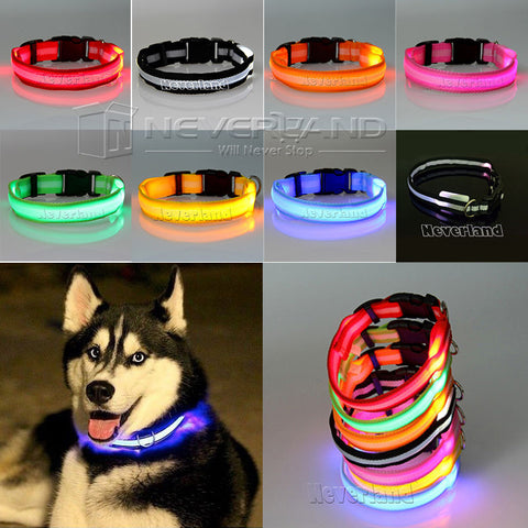 8 Color S M L Size Glow LED Dog Pet Cat Flashing Light Up Nylon Collar Night Safety Collars