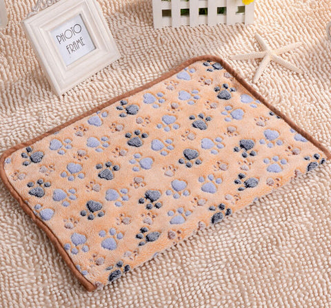 75*50cm 104*76cm Cute Floral Pet Warm Paw Print Dog Puppy Fleece Soft Blanket