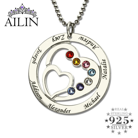 Heart in Heart Birthstone Family Name Necklace Personalized