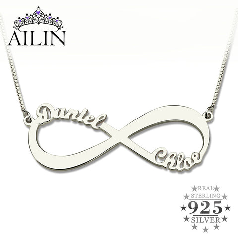 Personalized Infinity Necklace Two Name 925 Sterling Silver