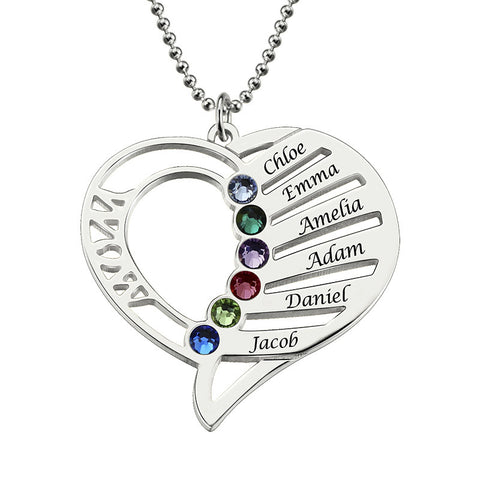 Personalized Heart Birthstone Necklace Hand Stamped Heart Name With Mom