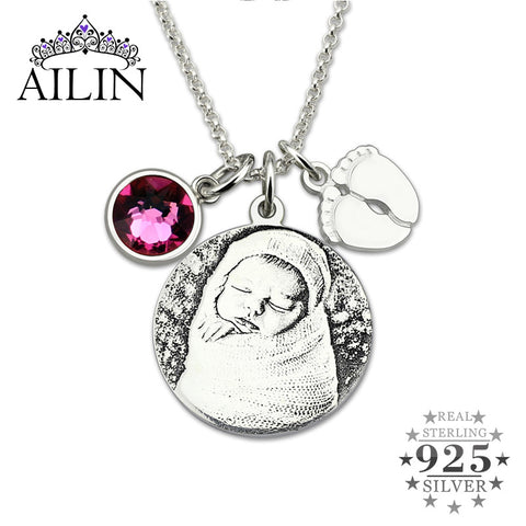 Personalized 925 Sterling Silver  Photo Birthstone Necklace  Baby Feet