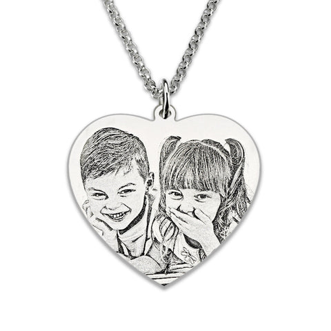 Photo Engraved Heart Necklace 925 Sterling Silver Personalized Portrait Picture Heart
