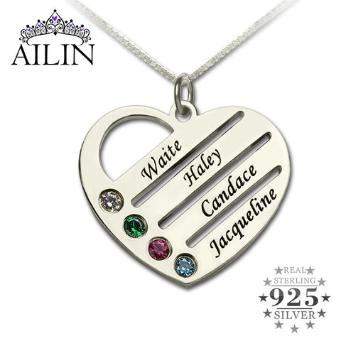 Engraved Heart  Mother Necklace 925 Sterling Silver