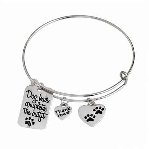 Silver Plated Dog hair completes the outfit  heart paw dog print Bangle