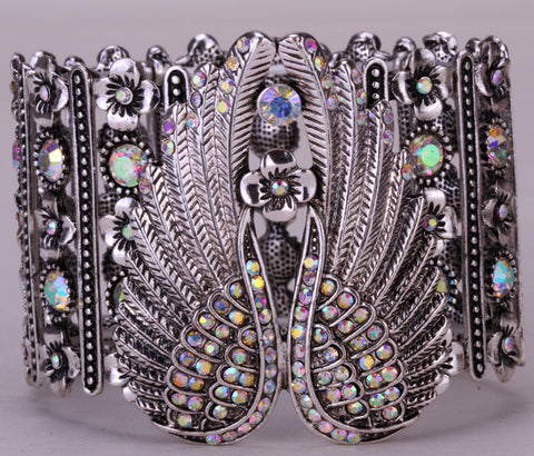 Angel wings stretch cuff bracelet  antique silver plated