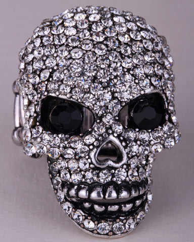 Skull stretch ring W moving jaw for women gold silver plated
