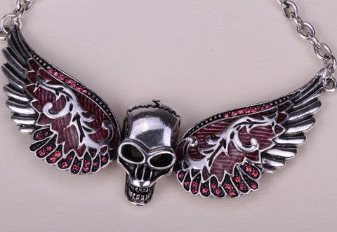Wings skull necklace women biker jewelry W/ crystal adjustable antique silver plated NC02