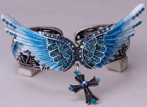 Wings cross stretch bracelet bangle for women girls biker jewelry W/ crystal antique silver plated