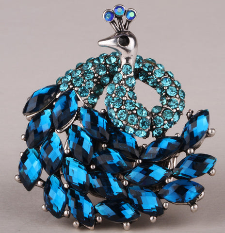 Peacock stretch ring for women antique gold & silver plated W crystal