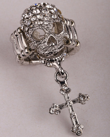 Skull cross stretch ring W/ crystal antique gold & silver plated