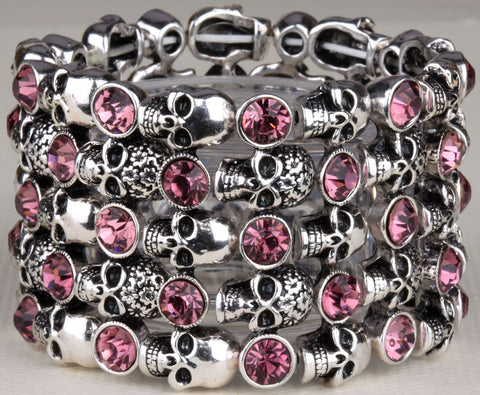 Skull skeleton stretch bracelet for women biker bling jewelry antique gold silver plated W crystal