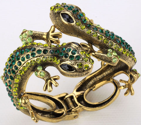 Lizard gecko bangle bracelet for women antique gold silver plated W crystal animal bling jewelry