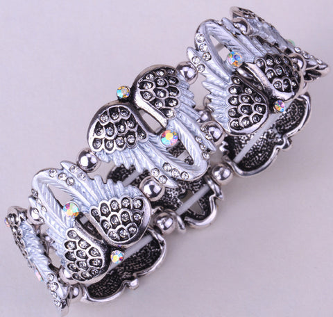 Angel wings stretch bracelet for women biker crystal punk jewelry style