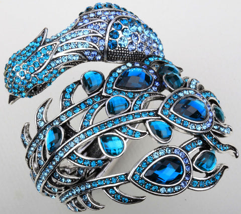 Peacock bracelet  for women crystal rhinestone bangle cuff