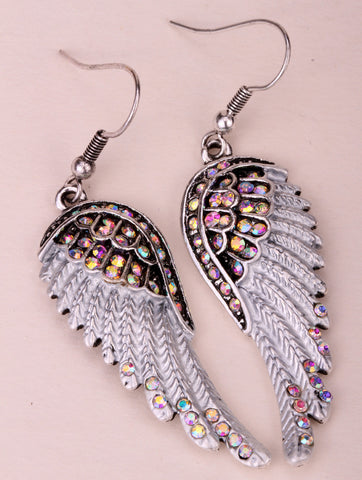 Angel wings dangle earrings antique gold silver plated W crystal