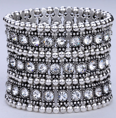 Multilayer stretch cuff bracelet women crystal wedding bridal jewelry 3 ROW B11 silver gold black