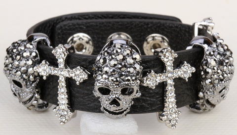 Black leather skull cross bracelet