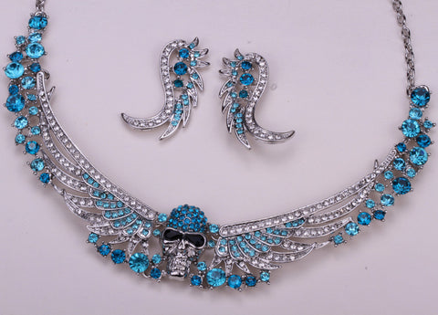 Wings skull necklace earrings sets w W/ crystal antique silver plated