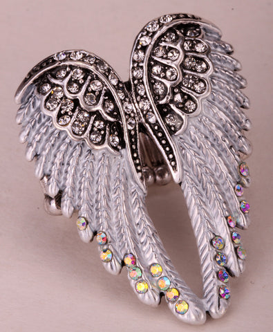 Angel wings stretch ring women biker bling jewelry antique gold & silver plated W crystal