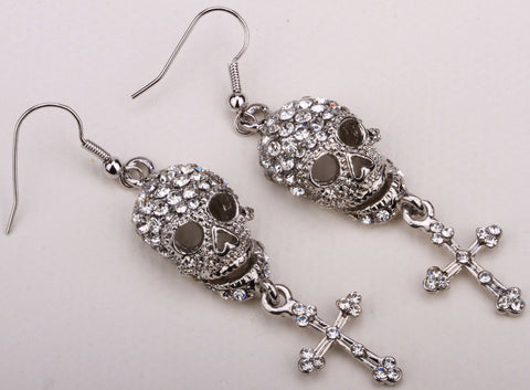 Skull skeleton cross dangle earrings for antique silver gold plated
