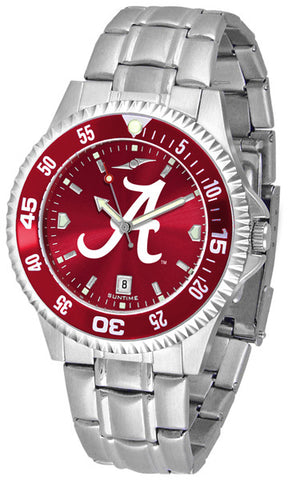 Alabama Crimson Tide Men Competitor Steel Watch With AnoChome Dial, Color Bezel
