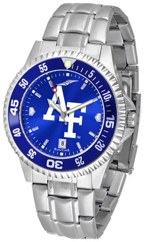 Air Force Falcons Men Competitor Steel Watch With AnoChome Dial, Color Bezel