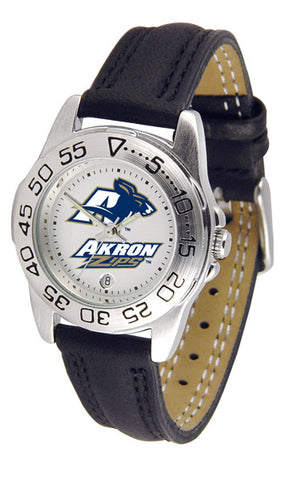 Akron Zips Ladies Sport Watch With Leather Band