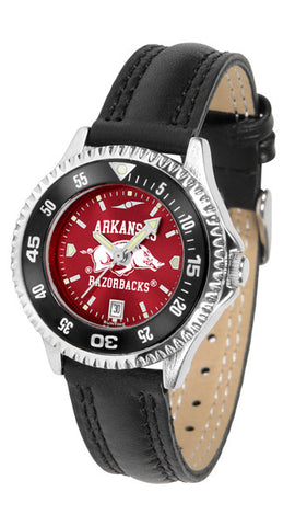 Arkansas Razorbacks Ladies Competitor Watch With AnoChome Dial, Color Bezel