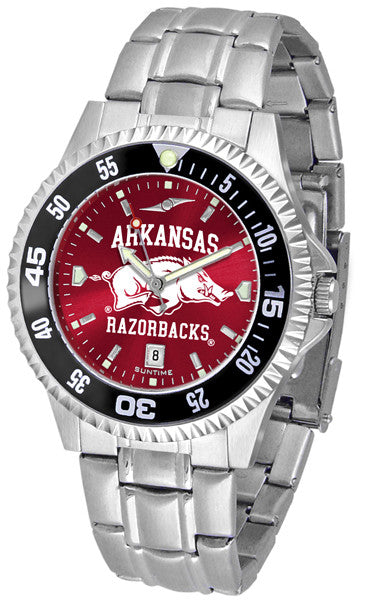 Arkansas Razorbacks Men Competitor Steel Watch With AnoChome Dial, Color Bezel