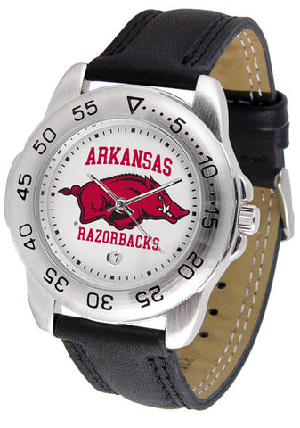 Arkansas Razorbacks Men Sport Watch With Leather Band