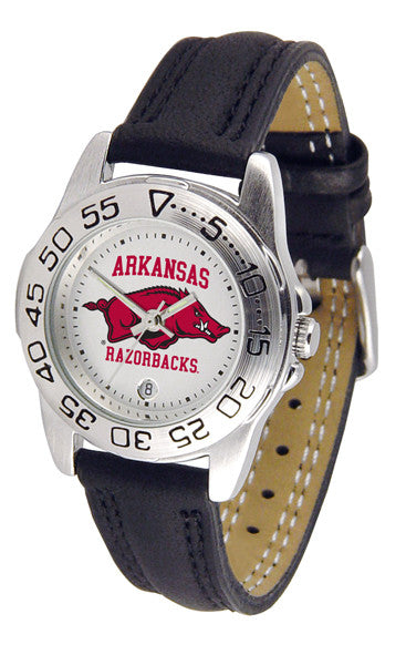 Arkansas Razorbacks Ladies Sport Watch With Leather Band