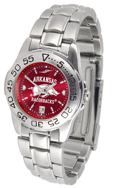 Arkansas Razorbacks Ladies Sport Steel Watch With AnoChrome Dial