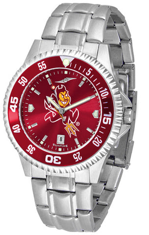 Arizona State Men Competitor Steel Watch With AnoChome Dial, Color Bezel