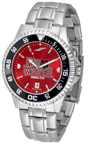 Arkansas State Red Wolves Men Competitor Steel Watch With AnoChome Dial, Color Bezel