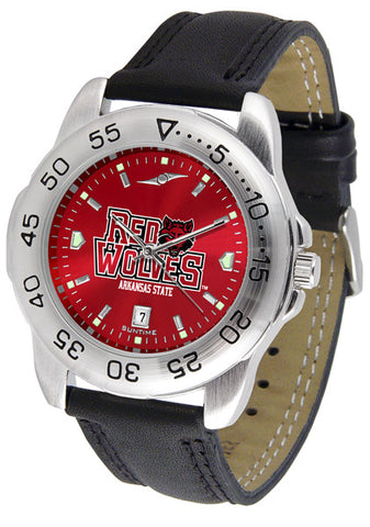 Arkansas State Red Wolves Men Sport Watch With Leather Band & AnoChrome Dial